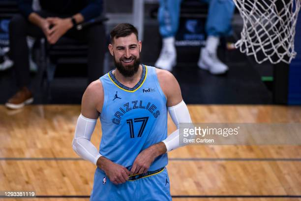 Jonas Valanciunas of the Memphis Grizzlies reacts during the first quarter against the San Antonio Spurs at FedExForum on December 23, 2020 in...