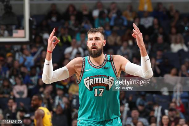 Jonas Valanciunas of the Memphis Grizzlies reacts to play against the Golden State Warriors on January 12, 2020 at FedExForum in Memphis, Tennessee....