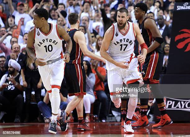 Jonas Valanciunas of the Toronto Raptors celebrates after scoring late in the second half of Game Two of the Eastern Conference Semifinals during the...