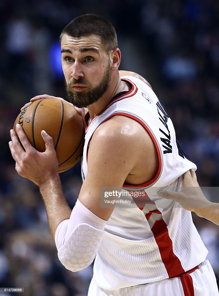 Jonas Valanciunas #17 of the Toronto Raptors dribbles the ball during the first half of an NBA game against the Atlanta Hawks at the Air Canada Centre on March 10, 2016 in Toronto, Ontario, Canada.