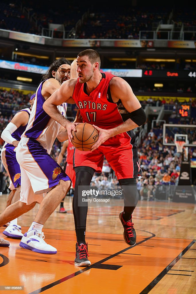 Jonas Valanciunas #17 of the Toronto Raptors drives to the basket against the Phoenix Suns on March 6, 2013 at U.S. Airways Center in Phoenix, Arizona.