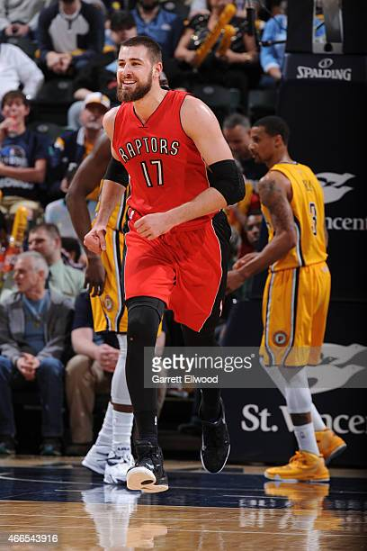 Jonas Valanciunas of the Toronto Raptors during the game against the Indiana Pacers on March 16 2015 at Bankers Life Fieldhouse in Indianapolis...