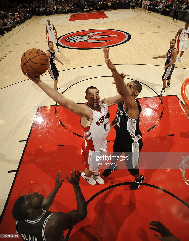 Jonas Valanciunas #17 of the Toronto Raptors goes up for the layup vs Tim Duncan #21 of the San Antonio Spurs during the game on November 25, 2012 at the Air Canada Centre in Toronto, Ontario, Canada.