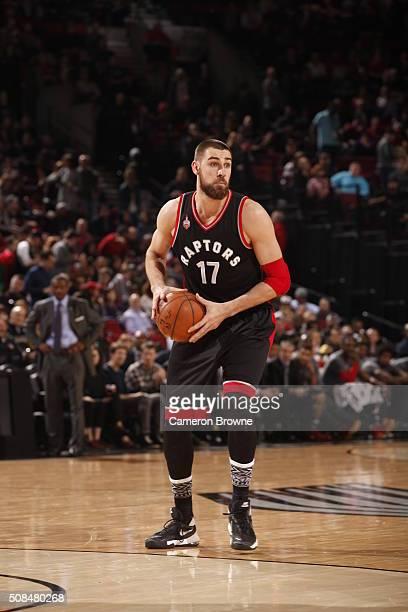 Jonas Valanciunas of the Toronto Raptors handles the ball against the Portland Trail Blazers on February 4 2016 at the Moda Center in Portland Oregon...
