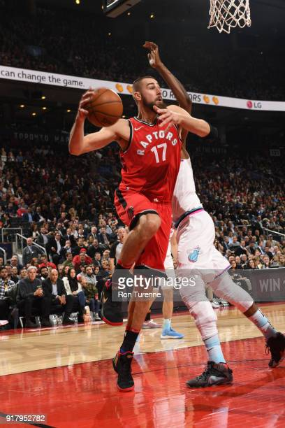 Jonas Valanciunas of the Toronto Raptors passes the ball against the Miami Heat on February 13 2018 at the Air Canada Centre in Toronto Ontario...