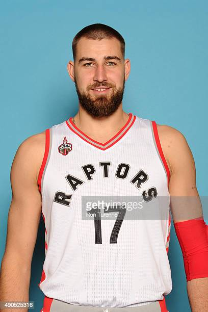 Jonas Valanciunas of the Toronto Raptors poses for a photo during media day on September 28 at the Air Canada Centre in Toronto Ontario Canada NOTE...
