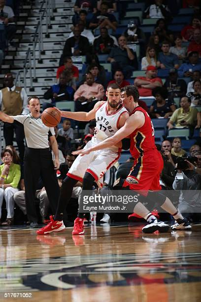 Jonas Valanciunas of the Toronto Raptors posts up against the New Orleans Pelicans on March 26 2016 at Smoothie King Center in New Orleans Louisiana...