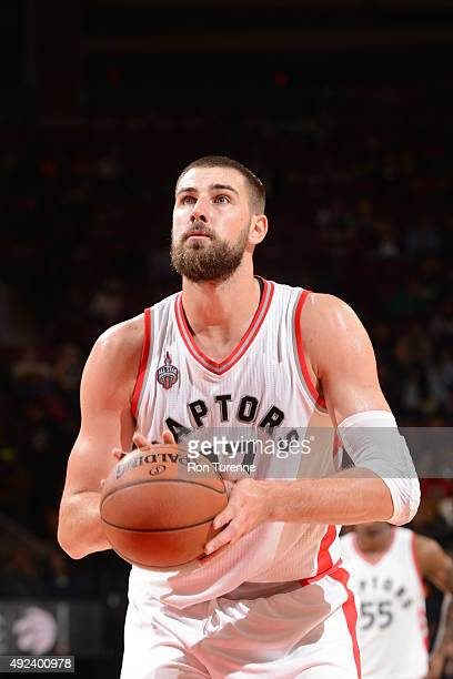 Jonas Valanciunas of the Toronto Raptors prepares to shoot a free throw against the Minnesota Timberwolves on October 12 2015 at the Air Canada...