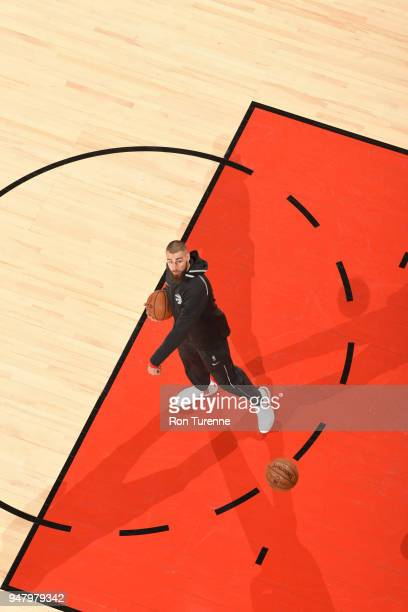 Jonas Valanciunas of the Toronto Raptors seen on the court before the game against the Washington Wizards in Game One of Round One of the 2018 NBA...