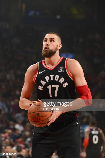 Jonas Valanciunas of the Toronto Raptors shoots a free throw against the Cleveland Cavaliers on January 11 2018 at the Air Canada Centre in Toronto...
