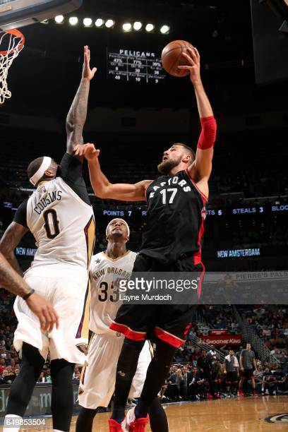 Jonas Valanciunas of the Toronto Raptors shoots a lay up during the game against the New Orleans Pelicans on March 8 2017 at the Smoothie King Center...