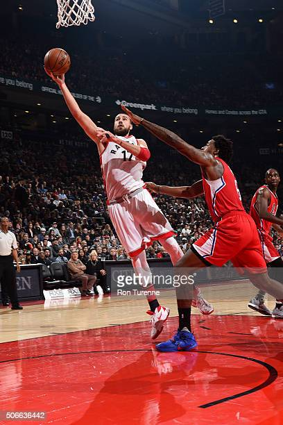 Jonas Valanciunas of the Toronto Raptors shoots a layup during the game against the Los Angeles Clippers on January 24 2016 at the Air Canada Centre...