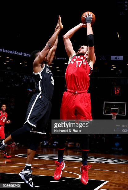 Jonas Valanciunas of the Toronto Raptors shoots against the Brooklyn Nets on January 6 2016 at Barclays Center in the Brooklyn borough of New York...