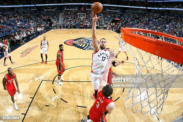 Jonas Valanciunas of the Toronto Raptors shoots the ball against the New Orleans Pelicans on March 26 2016 at Smoothie King Center in New Orleans...