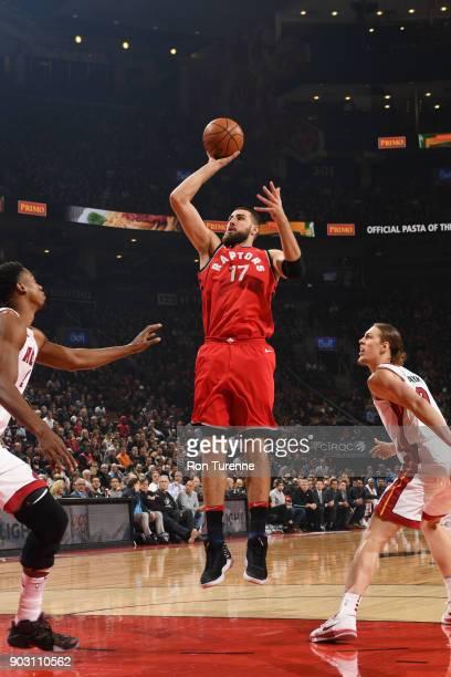 Jonas Valanciunas of the Toronto Raptors shoots the ball against the Miami Heat on January 9 2018 at the Air Canada Centre in Toronto Ontario Canada...