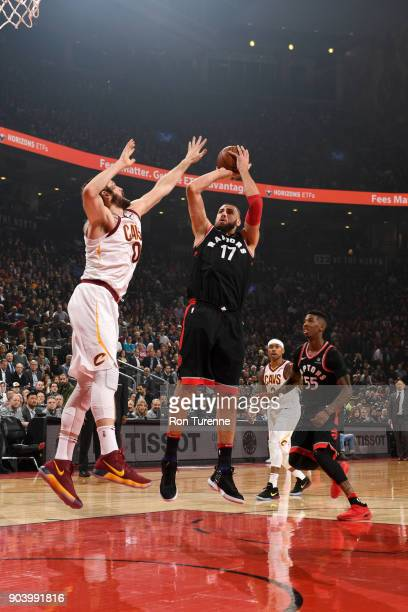 Jonas Valanciunas of the Toronto Raptors shoots the ball against the Cleveland Cavaliers on January 11 2018 at the Air Canada Centre in Toronto...