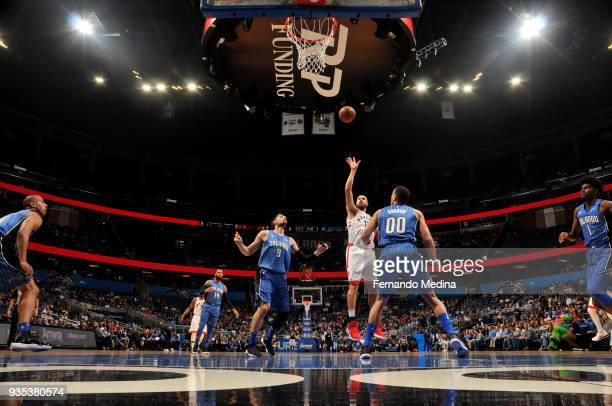 Jonas Valanciunas of the Toronto Raptors shoots the ball against the Orlando Magic on March 20 2018 at Amway Center in Orlando Florida NOTE TO USER...