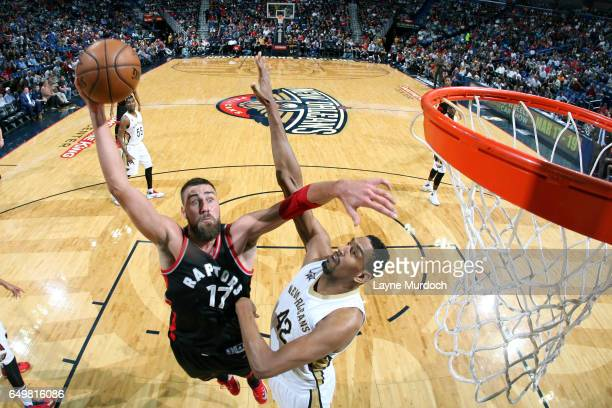 Jonas Valanciunas of the Toronto Raptors shoots the ball during the game against the New Orleans Pelicans on March 8 2017 at the Smoothie King Center...