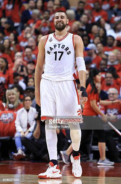 Jonas Valanciunas of the Toronto Raptors smiles in the first half of Game Seven of the Eastern Conference Quarterfinals against the Indiana Pacers...
