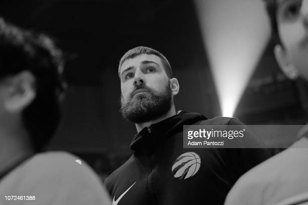 Jonas Valanciunas of the Toronto Raptors stands on the court for the National Anthem before the game against the LA Clippers on December 11 2018 at...