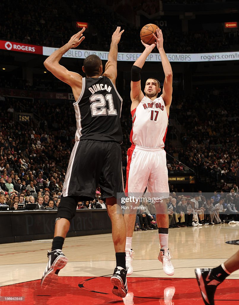 Jonas Valanciunas #17 of the Toronto Raptors takes a jumpshot at the top of the key vs the San Antonio Spurs during the game on November 25, 2012 at the Air Canada Centre in Toronto, Ontario, Canada.