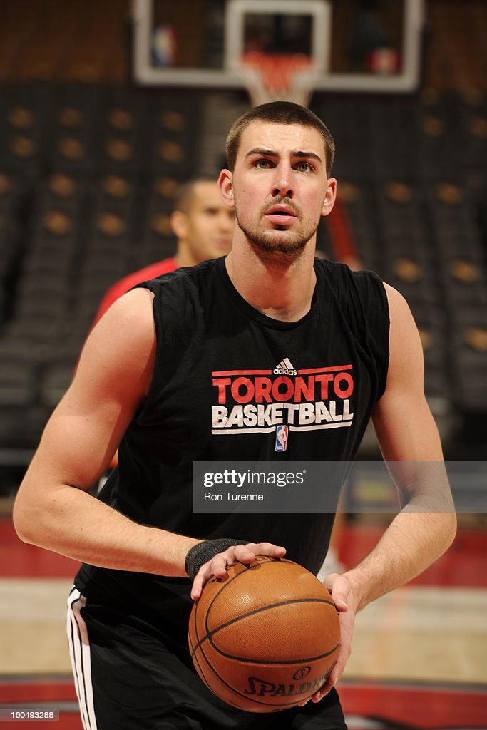 Jonas Valanciunas #17 of the Toronto Raptors takes foul shots before the game against the Los Angeles Clippers on February 1, 2013 at the Air Canada Centre in Toronto, Ontario, Canada.