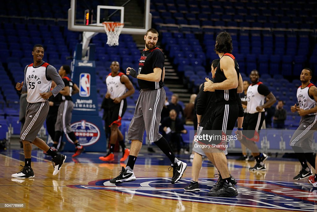 Jonas Valanciunas of the Toronto Raptors warms up during practice as part of the 2016 Global Games London on January 13, 2016 at The O2 Arena in London, England.