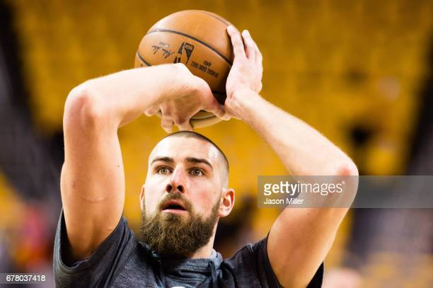 Jonas Valanciunas of the Toronto Raptors warms up prior to Game Two of the NBA Eastern Conference semifinals against the Cleveland Cavaliers at...