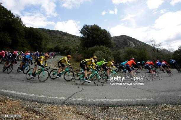 Jonas Vingegaard of Denmark and Team Jumbo - Visma / Bert-Jan Lindeman of The Netherlands and Team Jumbo - Visma / Neilson Powless of The United...