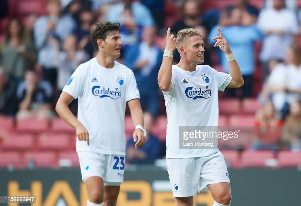 Jonas Wind and Viktor Fischer of FC Copenhagen celebrate after scoring their second goal during the Danish 3F Superliga match between FC Copenhagen...