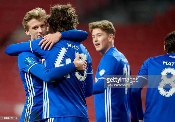 Jonas Wind of FC Copenhagen and team mates celebrate after his 20 goal during the test match between FC Copenhagen and Vejle Boldklub in Telia Parken...