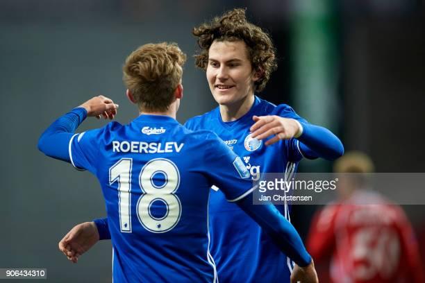Jonas Wind of FC Copenhagen celebrate after his 10 goal during the test match between FC Copenhagen and Vejle Boldklub in Telia Parken Stadium on...