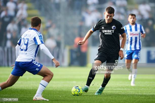 Jonas Wind of FC Copenhagen in action during the Danish 3F Superliga match between OB Odense and FC Copenhagen at Nature Energy Park on August 01,...