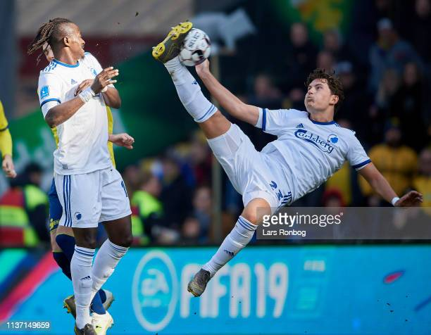 Jonas Wind of FC Copenhagen with a bicycle kick during the Danish Superliga match between Brondby IF and FC Copenhagen at Brondby Stadion on April 14...