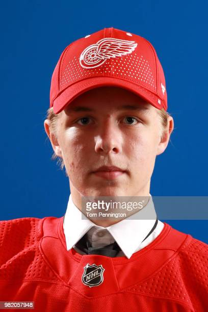 Jonatan Berggren poses after being selected 33rd overall by the Detroit Red Wings during the 2018 NHL Draft at American Airlines Center on June 23...