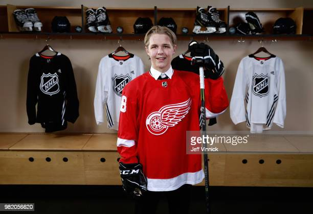 Jonatan Berggren poses for a portrait after being selected 33rd overall by the Detroit Red Wings during the 2018 NHL Draft at American Airlines...