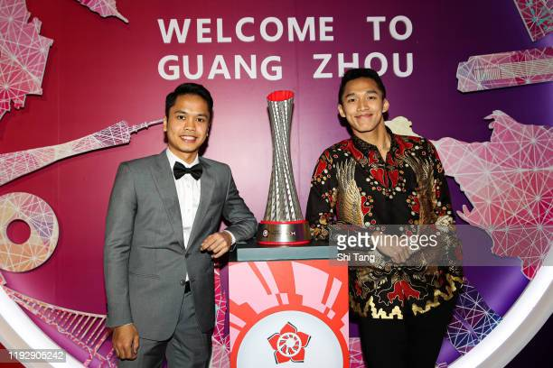 Jonatan Christie and Anthony Sinisuka Ginting of Indonesia attend the BWF Gala Dinner at Guangzhou Garden Hotel on December 09, 2019 in Guangzhou,...