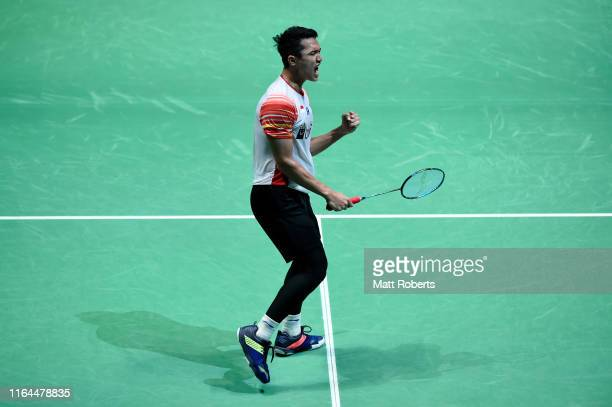 Jonatan Christie of Indonesia celebrates in the Men's Sngles semifinal match after defeating Jan O Jorgensen of Denmark on day five of the Daihatsu...