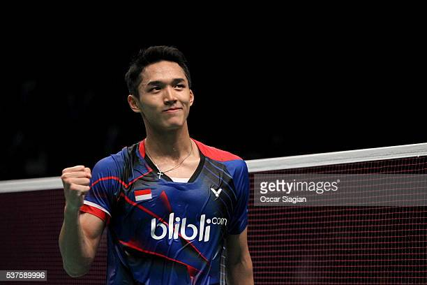 Jonatan Christie Of Indonesia Celebrates Winning His Match During The Second Round Of The  Indonesia