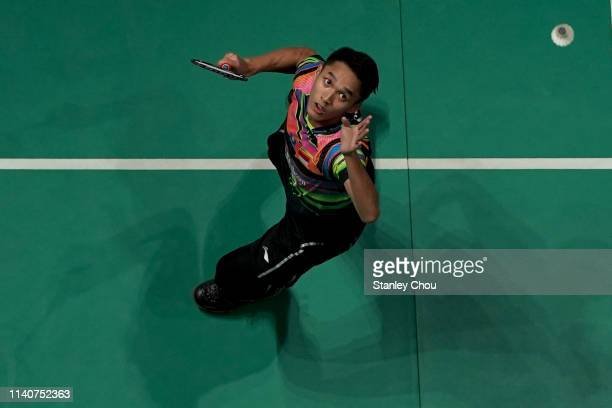 Jonatan Christie of Indonesia in action on day five of the Badminton Malaysia Open at Axiata Arena on April 06 2019 in Kuala Lumpur Malaysia