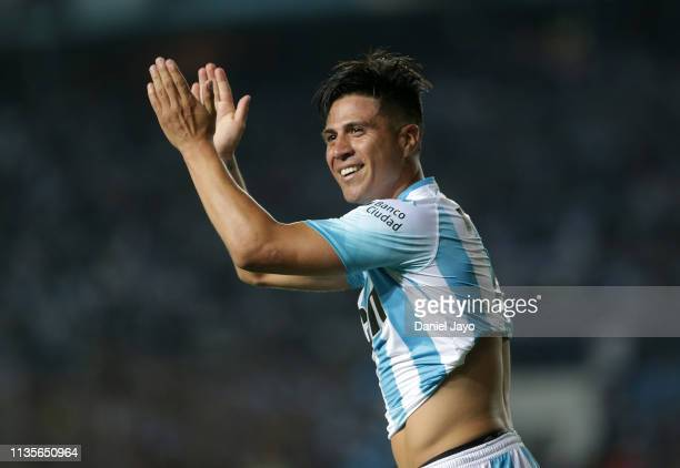 Jonatan Cristaldo of Racing Club celebrates after scoring his team's first goal during a match between Racing Club and Defensa y Justicia as part of...