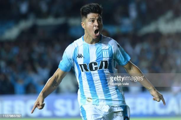 Jonatan Cristaldo of Racing Club celebrates after scoring the first goal of his team during a match between Racing Club and Corinthians as part of...