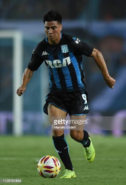 Jonatan Cristaldo of Racing Club drives the ball during a match between Racing Club and Godoy Cruz at Juan Domingo Peron Stadium on February 18 2019...