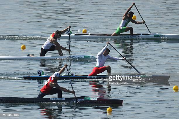 Jonatan Hajdu of Hungary competes in the Men's Canoe Single 200m Heat 3 during Day 12 of the Rio 2016 Olympic Games at Lagoa Stadium on August 17...