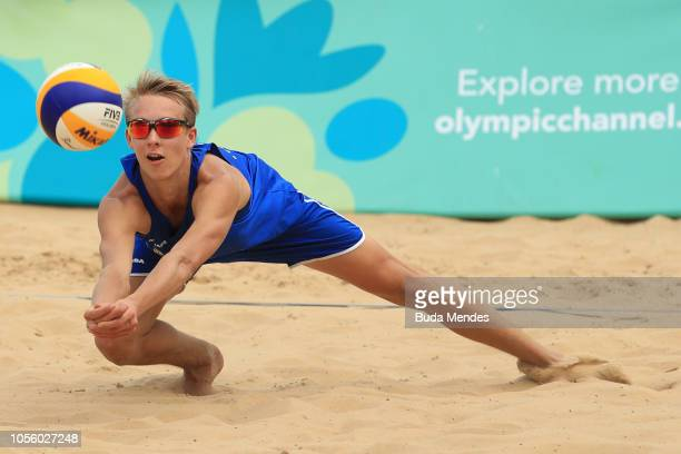 Jonatan Hellvig of Sweden in action in Men's Gold Medal Match during day 11 of Buenos Aires 2018 Youth Olympic Games at Green Park on October 17 2018...