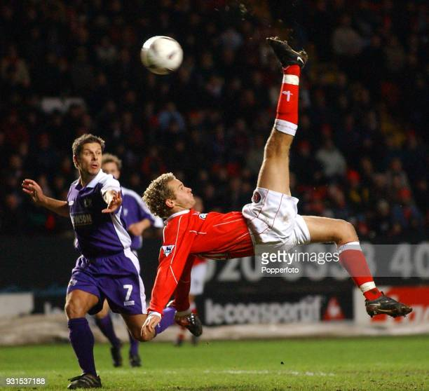 Jonatan Johansson of Charlton Athletic scores with an overhead kick against Exeter City during the FA Cup 3rd round match between Charlton Athletic...