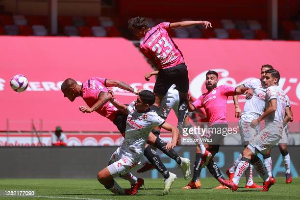 Jonatan Maidana of Toluca scores the second goal of his team during the 15th round match between Toluca and Tijuana as part of the Torneo Guard1anes...