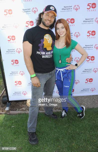 Jonathan A Marhaba and Actress Ainsley Ross participates in the 49th Annual Special Olympics Southern California Summer Games Media Day held at Cal...