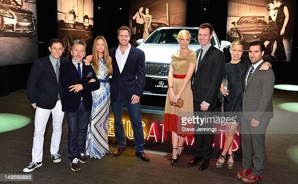 Jonathan Adler, Simon Doonan, Devon Aoki, James Bailey, Jaime King, Kyle Newman, Brady Cunningham and Jason Schwartzman pose in front of the Lexus...
