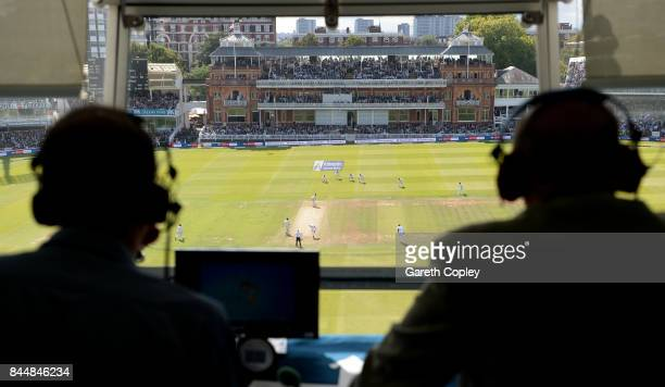 Jonathan Agnew and Geoffrey Boycott watch from BBC Test Match Special commentary box during day three of the 3rd Investec Test match between England...